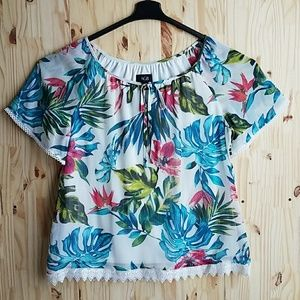 AGB Tropical Print Top Woman's Size Large